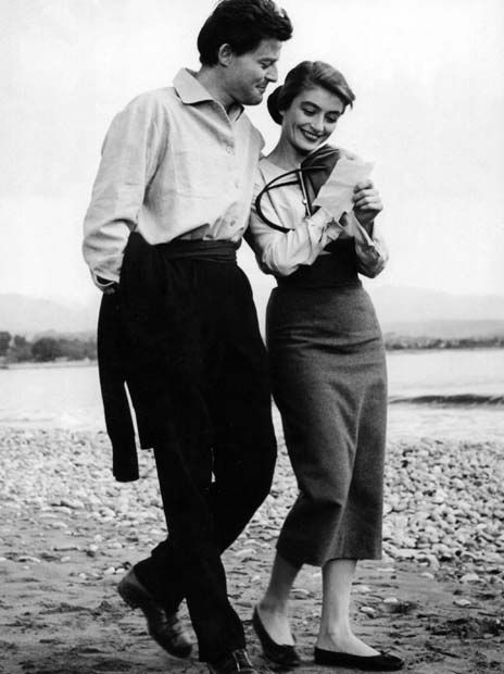 Gérard Philipe and Anouk Aimée filming Montparnasse 19 (Jacques Becker, 1958)