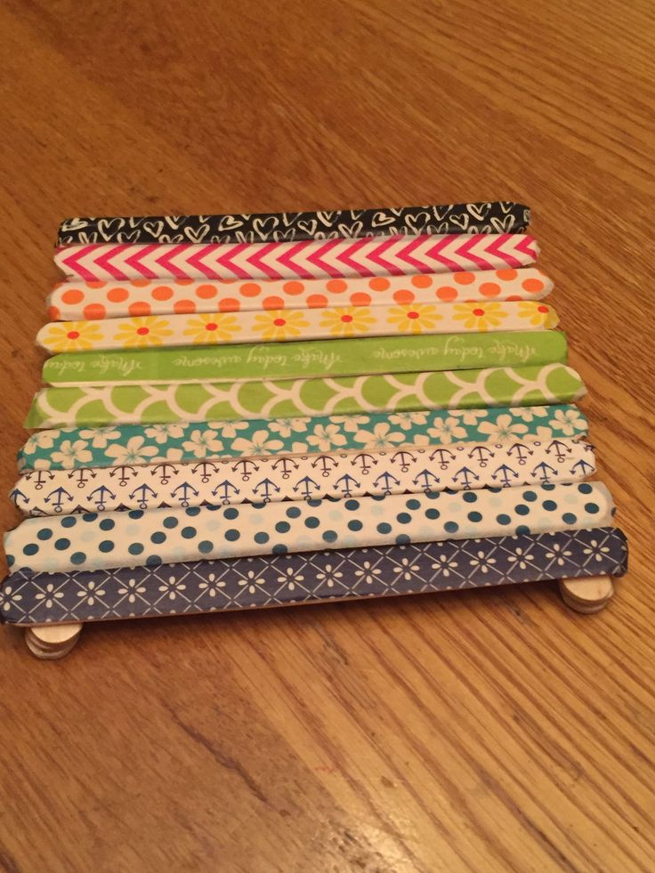 Washi tape and popsicle stick coaster