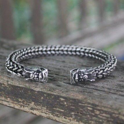 Mens Dragon bangle Handmade Bohemian Ethnic Miao silver jewellery