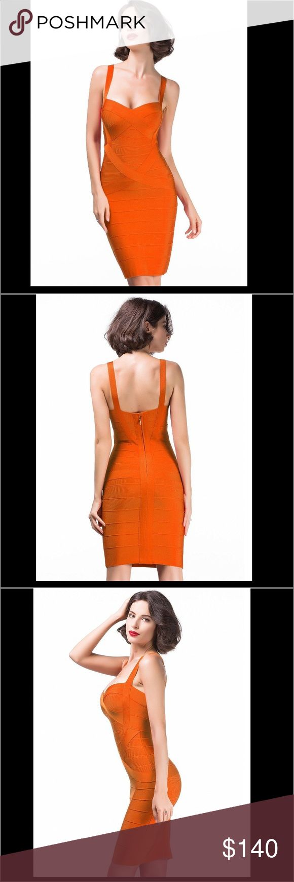 Orange bandage dress Turn up the heat in this ultra-flattering Deep V Neck Bandage Dress. This gold bandage dress designed to sculpt a gorgeous hourglass figure and featuring a sexy cut out deep v neck with zip fastening to rear.  Center back zipper with hook-and-eye closure. Fabric: 90% Rayon + 9% Nylon + 1% Spandex High quality heavyweight bandage. Delicate sewing and hemming by durable needle lockstitch machine. YKK zipper (known as the most durable and reliable zippers manufactured…