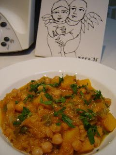 Thermomix Moroccan Chickpea and Pumpkin Stew. Vegetarian, whole food.