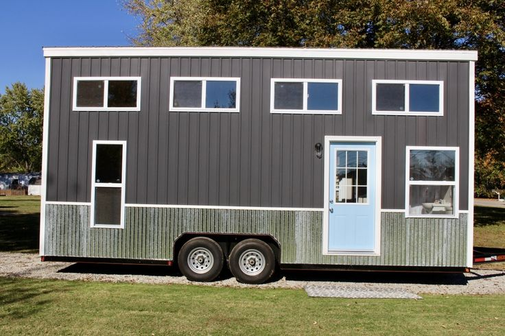 "Please click ""Photo Gallery"" for more photos. 24′ Relax Shack Grey/Sky Blue Model INCLUDES: -2016 year built.-Approx Weight 10,500 lbs. -Trailer size: 8'x24′ 5 1/2″ x 1/4″ thick steel frame, with trailer brakes. -All framing reinforced with 1/2″ bolts at corners and base plates.  All 2×4 studs reinforced with hurricane straps. All 2×6 roof trusses are…"