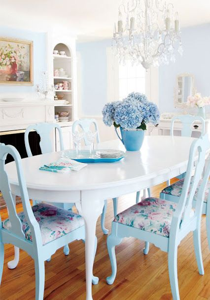 Blue and white dining room table and chairs -Decoracion Hogar - Fotos de Decoracion - Comunidad - Google+