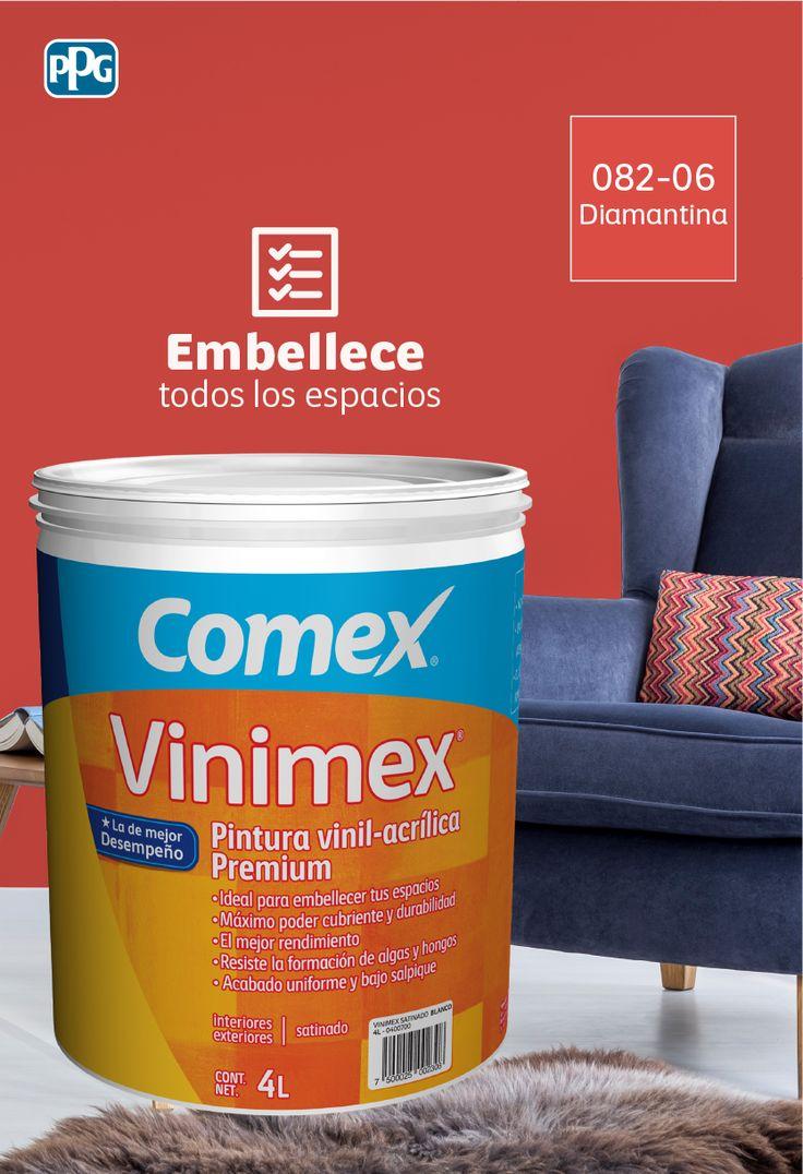 Vinimex®: Ideal para embellecer todo tipo de espacios por su desempeño y durabilidad. Disponible en más de 3500 colores del Sistema ColorLife® 2.0 y en 27 colores de línea. #ProductosComex