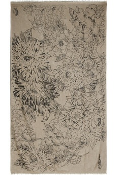 Yes, please. Peony print cashmere scarf. by Horiyoshi the Third.