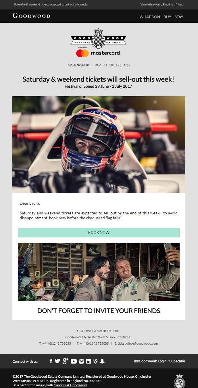 Email to promote urgency for Goodwood event #EmailMarketing #Email #Marketing #Urgency #Event #Sports #Hobbies