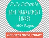 Home Management Binder-  Fully Editable - Over 160 Pages of Printables - Instantly Download Your Home Notebook