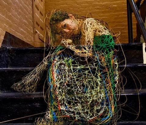 sculpture made from telephone wire
