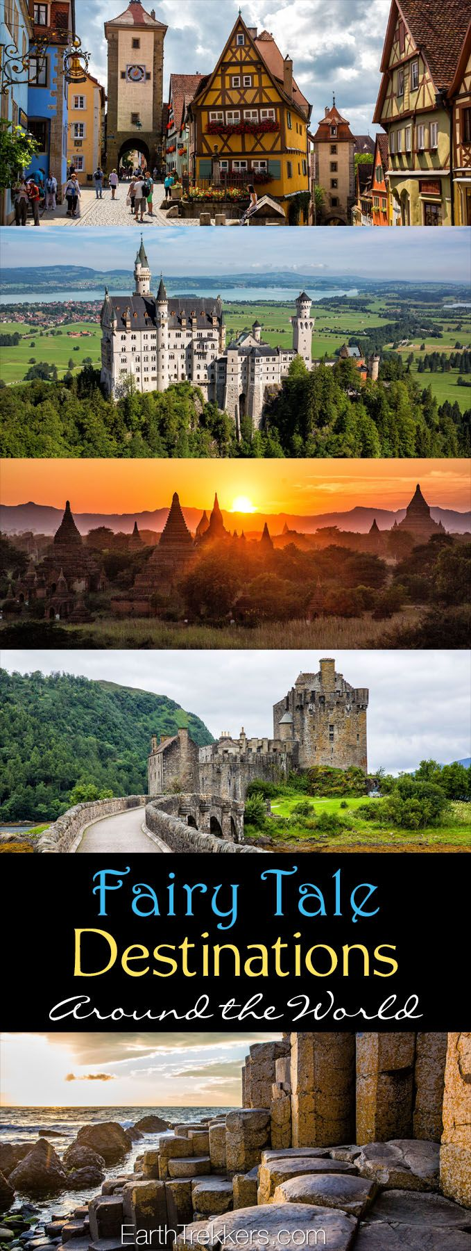 Fairytale destinations from around the world. Magical places to visit in your lifetime: Bavaria, Bagan, Isle of Skye, Cappadocia, Bhutan.