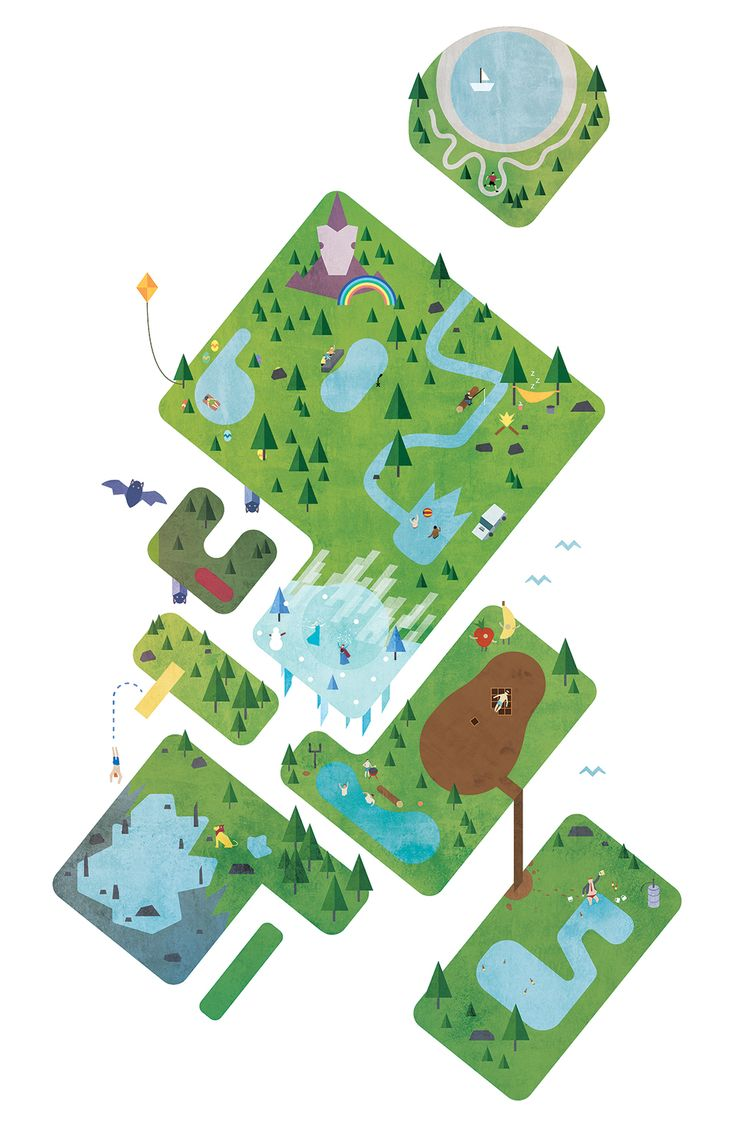 Editorial illustration for Cottage Life Magazine. Funky lake names in Canada