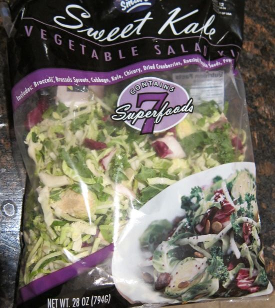 I picked up this sweet kale salad kit in Costco and it's so good!  Forget the boring old lettuce - this salad has so many unique and nutritious greens ! I dont use the dressing and instead add some of my own extra dried cranberries....