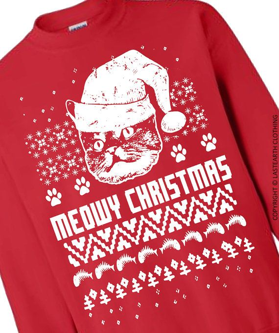 Cat Christmas Sweater Cats Ugly Christmas Sweater Fleece Pullover Sweatshirt…