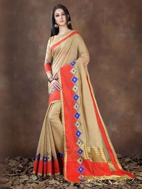 1854314091e67 Brown Colored Beautiful Pure Soft Cotton Saree With Exclusive Latkan ...