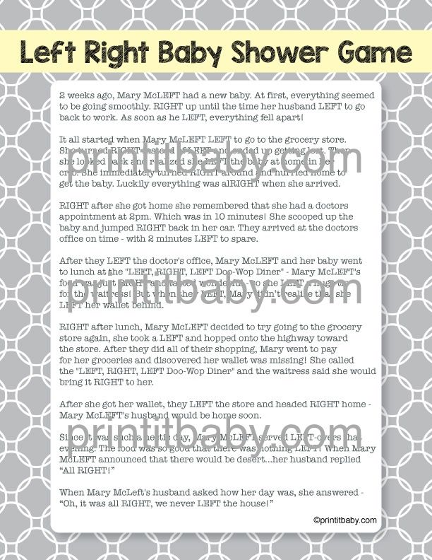 Printable Left Right Baby Shower Game PrintItBaby.com Print It Baby