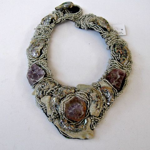 Statement collar 12 Abalone and Mika framed with seed beads