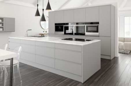 Light grey matt kitchen in a contemporary 'J Pull' Handleless style.