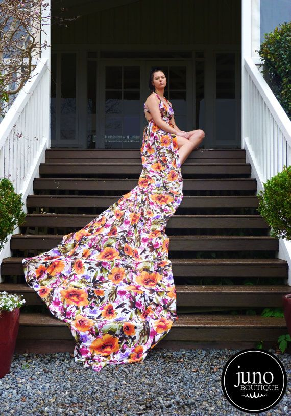 SPECIAL The Floral Aurai Gown  4m Long Train by JunoBoutique, $100.00