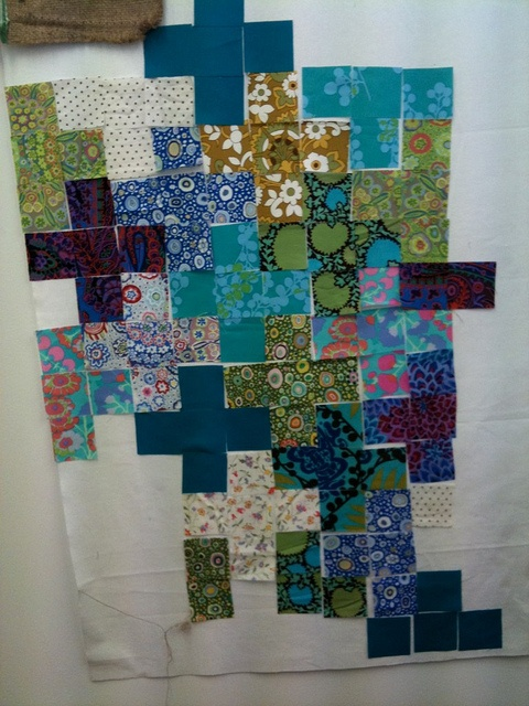 beginning to lay out cross patchwork