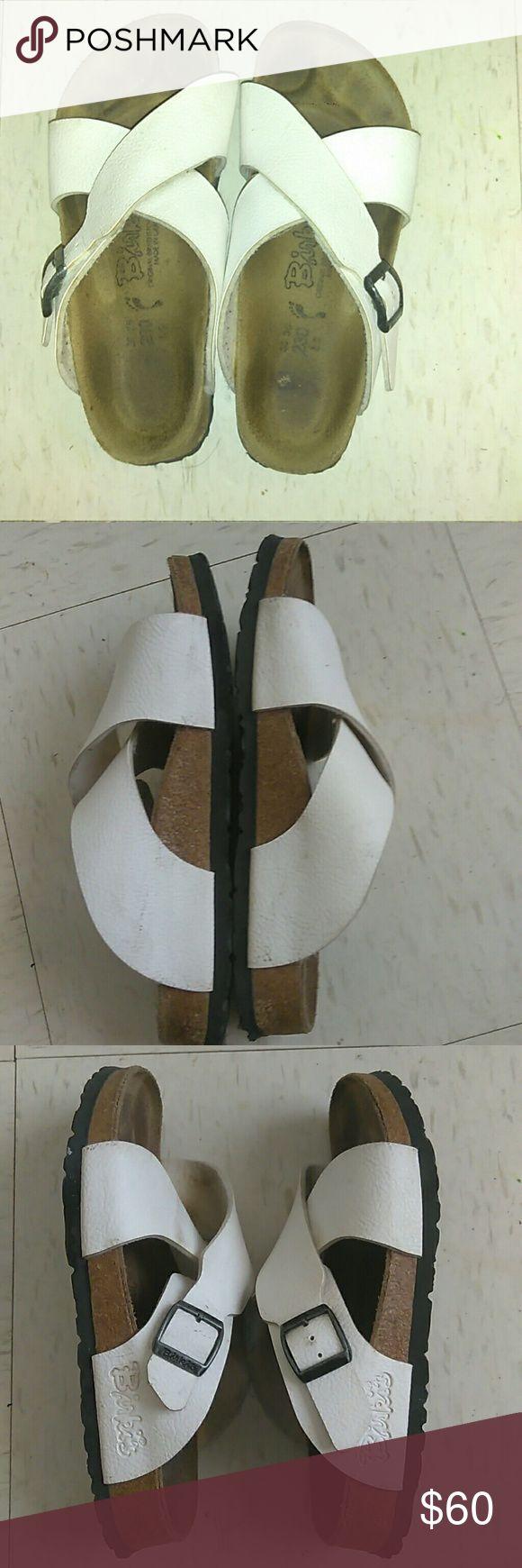 White birkis $60 obo Women's Birkenstock BIRKI'S 36/35 Sandal Cross Strap with Buckle Birkenstock Shoes Sandals