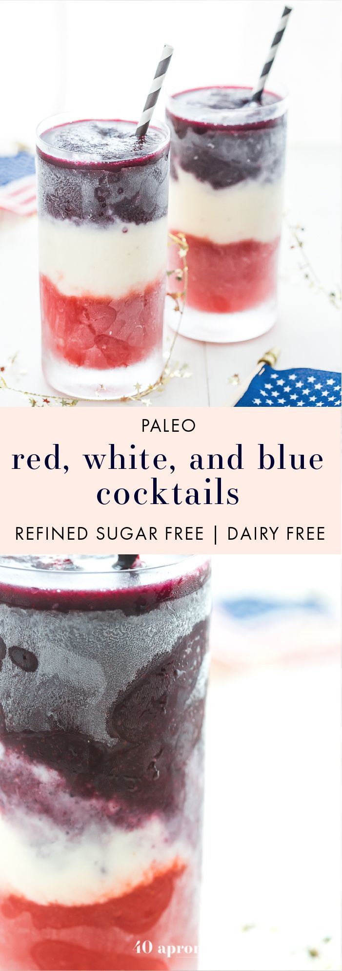 These paleo red, white, and blue cocktails are perfect 4th of July cocktails: boozy, fruity layers form a striking drink that tastes delish. Easy to make and free of refined sugar and dairy, these are the perfect Memorial Day cocktails, Labor Day cocktails, or heck, just paleo summer cocktails, too. U-S-A!