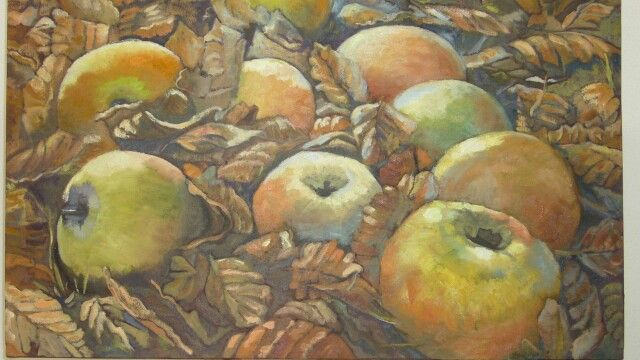 Appels in Autumn - Oil on canvas by Christine Joubert