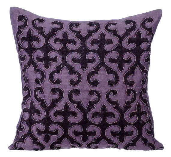 Purple Trance - 16 x 16 Sequin Embroidered Purple Silk Throw Pillow.