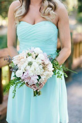 Bridesmaid bouquet, florals: by Fleurie    // Amazing Photography: Abby Grace Photography. Bouquet of Cafe au Lait dahlias, ferns, hydrangea for mountain wedding in the Sequoia National Park.