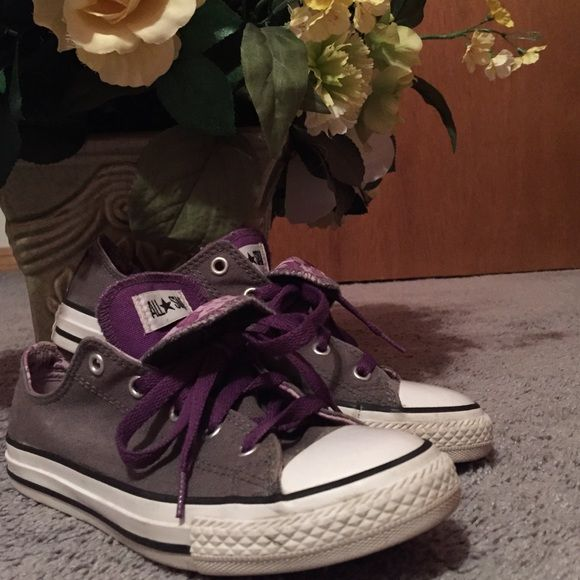 Gray Converse Purple and gray all star converse; used but great condition!! Size 4 but fits size 6/6.5 ( I'm a size 6.5). Converse Shoes