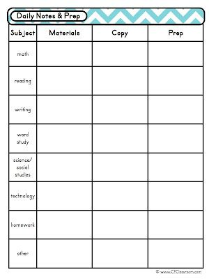 Day at a Glance Daily Lesson Planning {Lesson Plan Template, Teacher Binder}