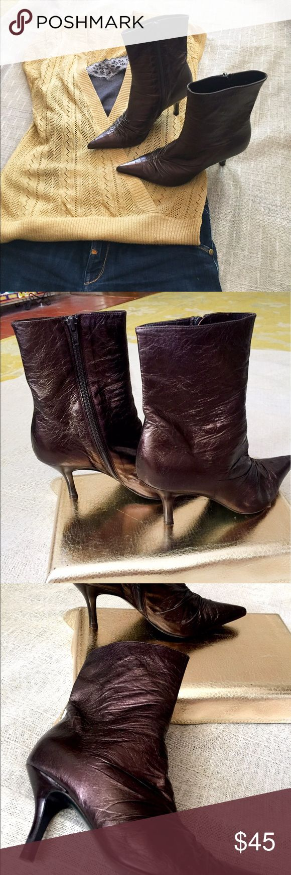 Rebeca Sanver booties, 36 Eur, dark plum leather Edgy boots from Spanish designer Rebeca Sanver. Supple leather, dark burnished plum with slight iridescent sheen. Can look more purple or more bronze depending on the light. Truly stunning and unique from a popular European designer not well known in the states. Original box and packing materials. Rebeca Sanver Shoes Ankle Boots & Booties