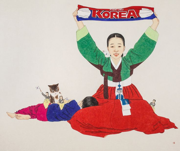 대-한민국!, painting on Korean paper, 100x120cm, 2012
