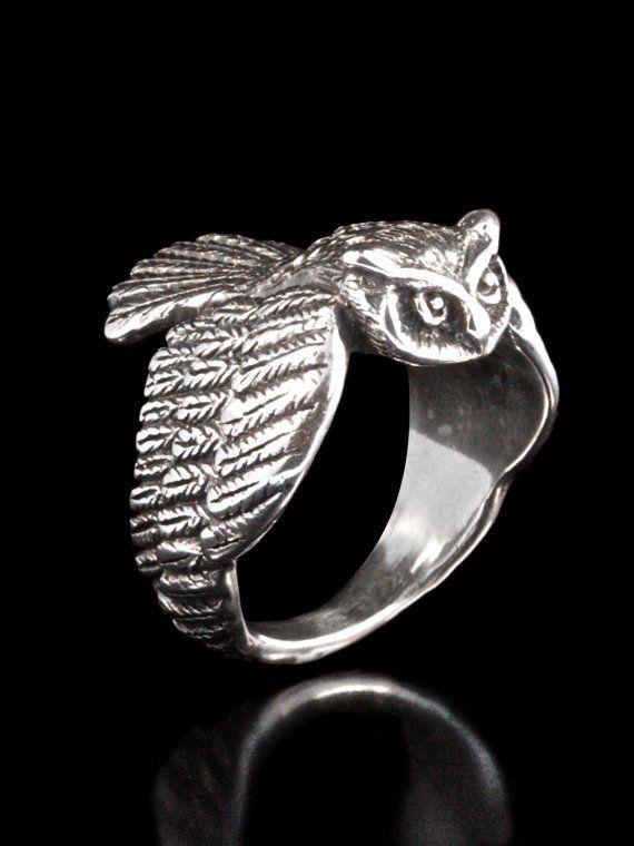 Owl Ring Silver Owl Jewelry Bird Ring Bird by martymagic