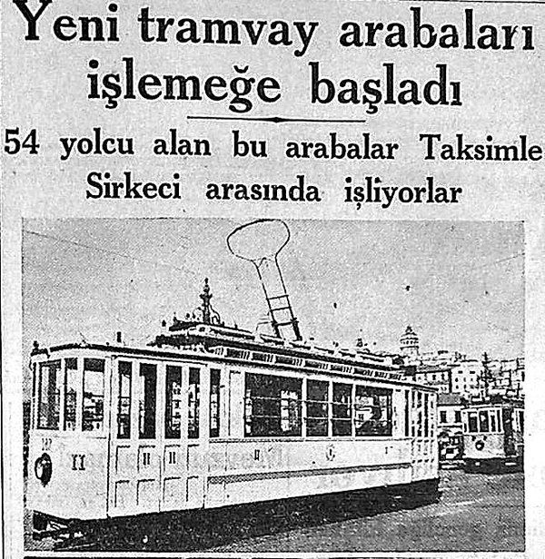 ''Yeni Tramvay arabaları işlemeğe başladı'' (1936) #eskihaberler #Tramvay #istanbul