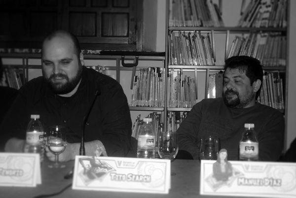 "V edición de Autores en Viñetas. Mesa ""Encuentro comiquero en Sevilla"" Nacho Tenorio Sergio Mora Tito-Search  — en Carmona."