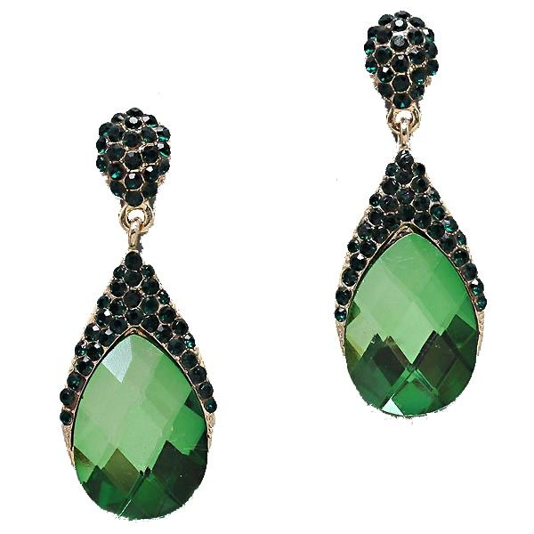 Golden emerald crystal diamante teardrop earrings (available in other colours ) from WWW.GlitzyGlamour.co.uk