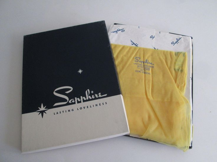 Yellow Nylon Stockings With Seams Vintage 1960s Sapphire New In Box 4 Pairs