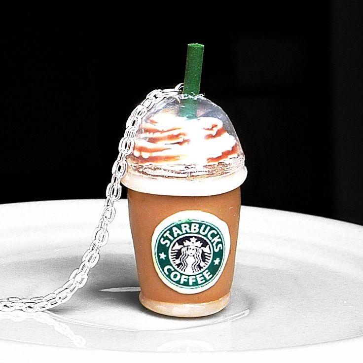 Coffee+caramel+Náhrdelník+s+kávou+z+polymerové+hmoty+a+plastu+(výška+cca+4,5cm+vč.očka),+délka+řetízku+(přes+hlavu,+bez+zapínání)+79cm+(mohu+upravit).