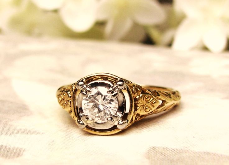 Vintage Engagement Ring Jabel Art Deco Style Ring 0.50ct Diamond Wedding Ring 18K Gold Filigree Ring Jabel Vintage Bridal Jewelry Size 6!