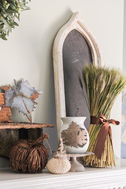 Fall Mantel Decor with galvanized leaf and wheat bundle
