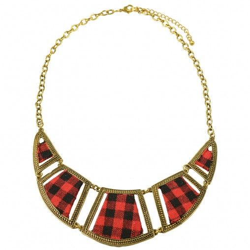 SACHA // Statement necklace tartan €14,95 #sachashoes #scottish #check #red #gold