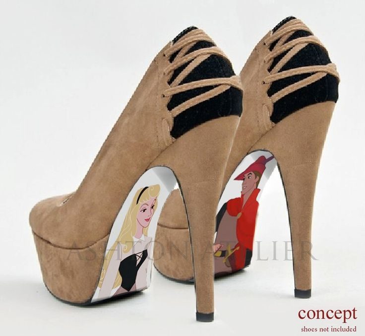 Custom hand painted Sleeping Beauty shoes by AshtonAtelier on Etsy