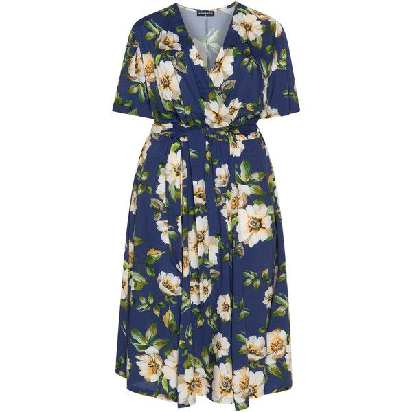 Manon Baptiste Blue / Multicolour Plus Size Floral wrap dress ($170) ❤ liked on Polyvore featuring dresses, blue, plus size, midi dresses, deep v-neck dress, blue floral dress, plus size dresses and wrap around dress