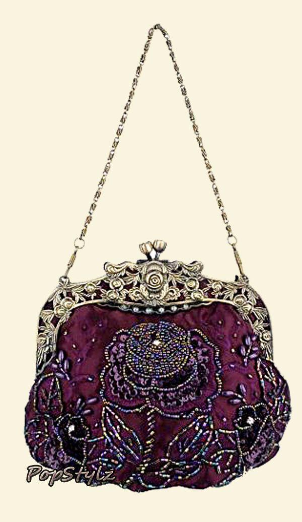 MG Collection Purple Antique Rose Evening Handbag