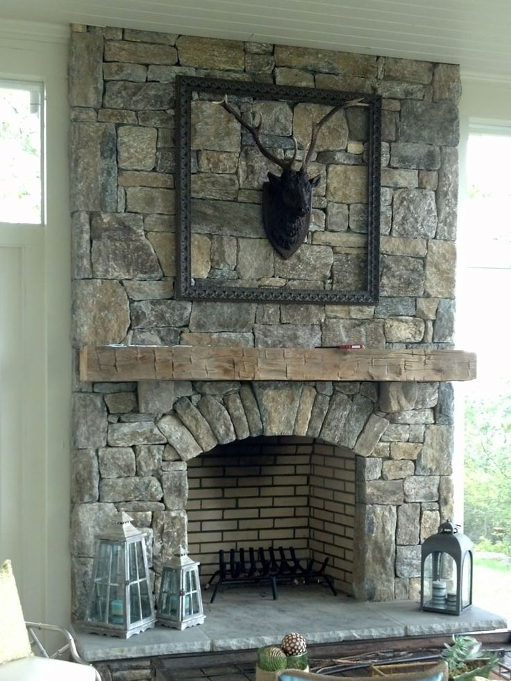 Interior, : Heavenly Ideas For Home Interior Decoration Ideas Using Grey Stone  Fireplace Along With Deer Head Mantel Decoration And White Tile Fireplace  ...