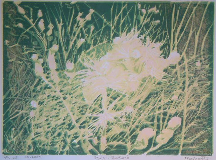 prenten zeeland / Pluis-1 reductielino op papier, 1e in serie, 21 x 15 cm.