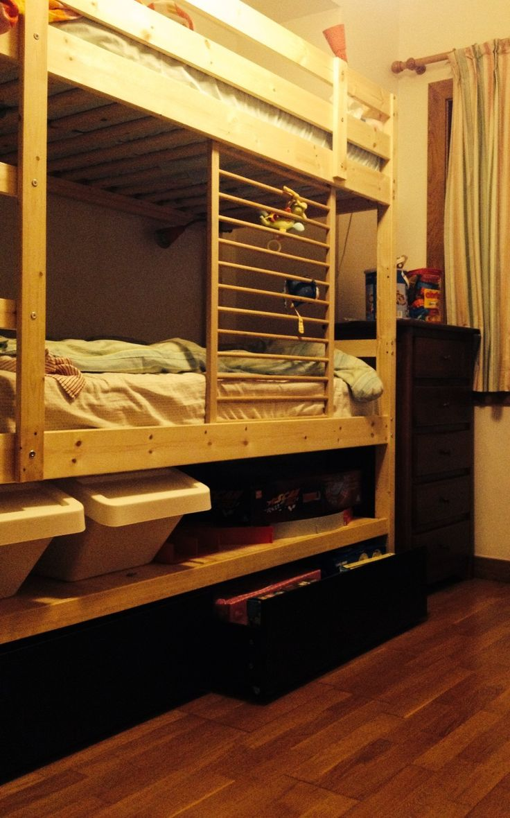 Mydal Bunk Bed Hack Added Height Shelf And Malm Drawers Furniture