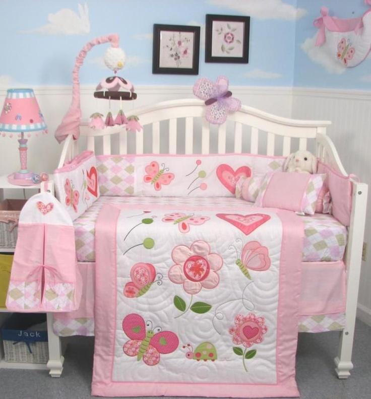 Pink Butterflies Kisses Baby Crib Nursery Bedding 13pcs Set included Diaper Bag | eBay