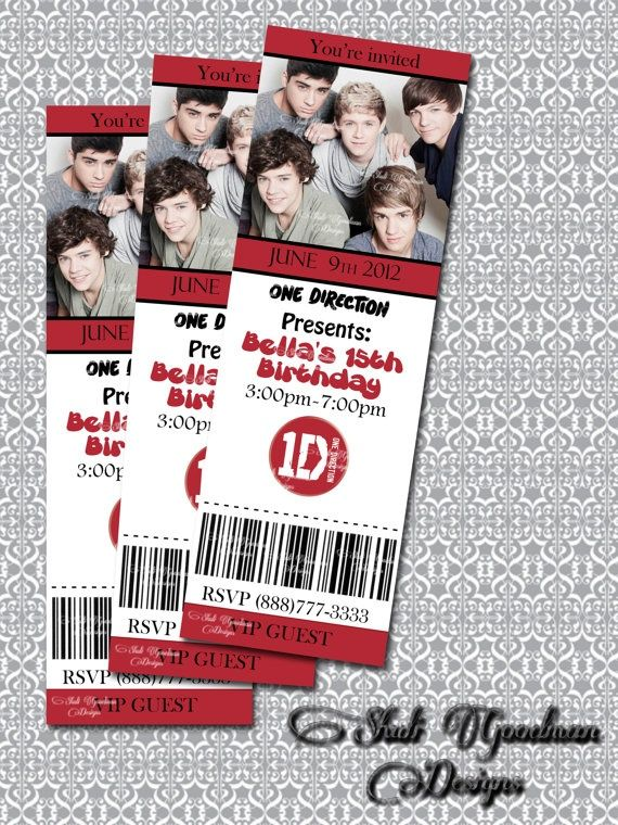ONE DIRECTION PARTY IDEAS | One Direction Printable movie ticket by ... | Party Ideas
