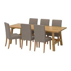 MÖCKELBY / HENRIKSDAL, Table and 6 chairs, oak, Nolhaga gray-beige