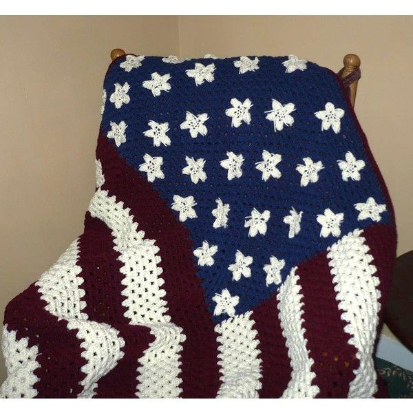 Crocheted Afghan Blanket American Flag Afghan Red White and Blue Large ($60) ❤ liked on Polyvore featuring home, bed & bath, bedding, blankets, afghans, blankets & throws, grey, home & living, american flag blanket and crochet blanket